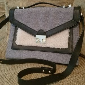 Loeffler Randall leather/fabric rider satchel